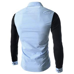 Concise Slimming Checked Splicing Turn-down Collar Color Block Long Sleeves Men's Shirt -