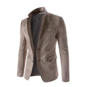 Trendy Slimming Personality Pocket Embellished Houndstooth Lapel Long Sleeves Men's Blazer -