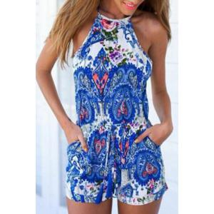 Sleeveless Cut Out Paisley Pants Romper - BLUE L