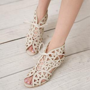 Flat Lace Up Cut Out Sandals -