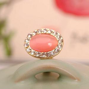 Faux Opal Rhinestone Decorated Oval Shape Ring - GOLDEN ONE-SIZE