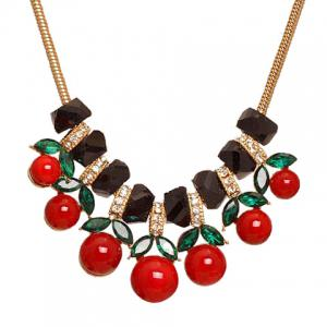 Cute Beads Cherry Shape Pendant Necklace For Women