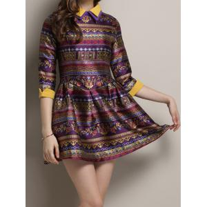 Vintage Flat Collar 3/4 Sleeve Color Block Printed Women's Dress -