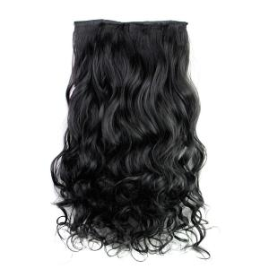 Fashion Jet Black Long Curly Clip-In Heat Resistant Synthetic Hair Extension For Women