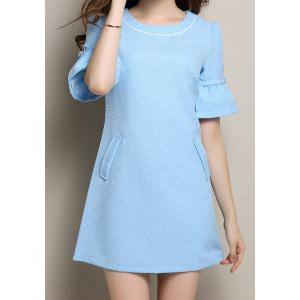 Vintage Scoop Neck Half Flare Sleeve Bowknot Embellished Women's Dress