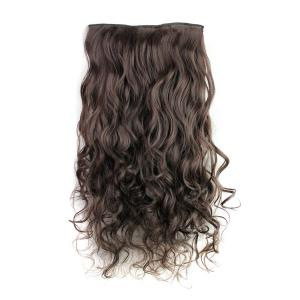 Fashion Deep Brown Long Curly Clip-In Heat Resistant Synthetic Hair Extension For Women