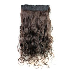 Fashion Deep Brown Long Curly Clip-In Heat Resistant Synthetic Hair Extension For Women - DEEP BROWN
