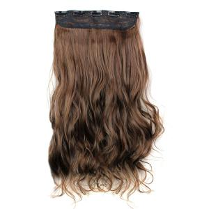 Fashion Light Brown Long Curly Clip-In Heat Resistant Synthetic Hair Extension For Women - LIGHT BROWN