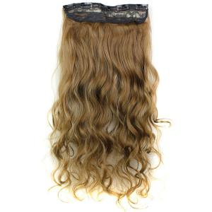 Fashion Mixed Color Long Curly Clip-In Heat Resistant Synthetic Hair Extension For Women -