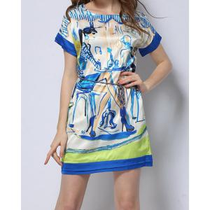 Vintage Scoop Neck Short Sleeve Printed Women's Dress -