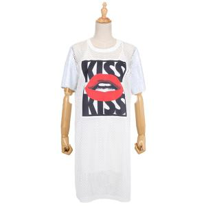 Casual Spaghetti Strap Tank Top + Round Neck Short Sleeve Lips Print Dress Women's Twinset -