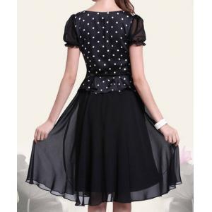 Retro Style Scoop Neck Polka Dot Print Color Block Short Sleeve Women's Dress -