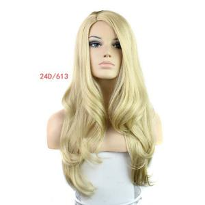 Europe Style Side Bang Fluffy Long Loose Wavy Kanekalon Women's Synthetic Blonde Wig -