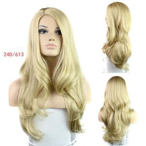 Europe Style Side Bang Fluffy Long Loose Wavy Kanekalon Women's Synthetic Blonde Wig