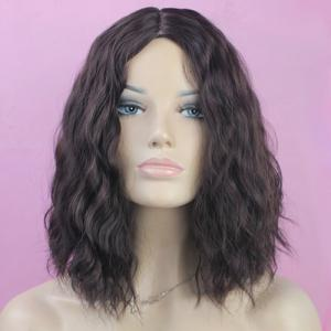 Trendy Centre Parting Charming Medium Curly Brown Mixed Synthetic Capless Wig For Women