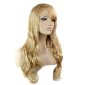 Trendy Side Bang Noble Long Big Wavy Blonde Brown Mixed Synthetic Capless Wig For Women -