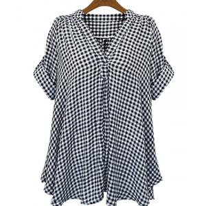 Casual Stand-Up Collar Short Sleeve Plaid Loose-Fitting Women's Blouse - White And Black - 2xl