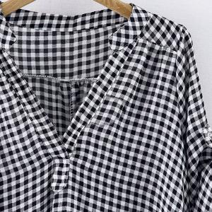 Casual Stand-Up Collar Short Sleeve Plaid Loose-Fitting Women's Blouse - WHITE/BLACK XL