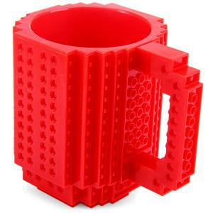 DIY Creative Building Blocks Style Build-On Brick Mug Tea Cup - Red - Panda Shape