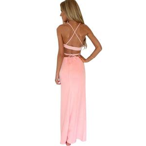 Sexy Style Spaghetti Strap Solid Color Bandage Backless Sleeveless Dress For Women -