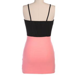 Sexy Style Spaghetti Strap Color Block Sleeveless Dress For Women -
