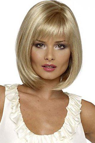 Outfits Charming Short Silver Blonde Straight Synthetic Wig With Full Bang For Women