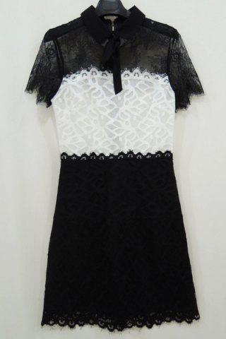 New Vintage Peter Pan Collar Short Sleeves Color Splicing Lace Dress For Women