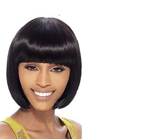 New Cute Neat Bang Short Bob Straight Heat-Resistant Synthetic Wig For Women