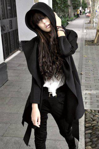 Shops Stylish Long Sleeves Solid Color Belt Hooded Trench Coat For Women BLACK M