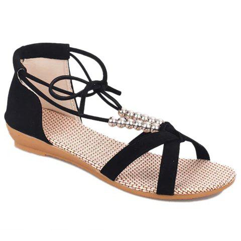 Fashion Trendy Solid Color and Beading Design Women's Sandals