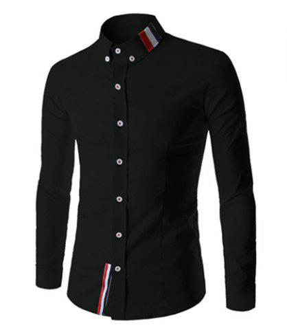 Fancy Stylish Shirt Collar Slimming Buttons Design Stripes Splicing Long Sleeve Polyester Shirt For Men BLACK L