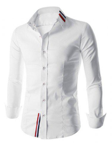 Hot Stylish Shirt Collar Slimming Buttons Design Stripes Splicing Long Sleeve Polyester Shirt For Men - XL WHITE Mobile