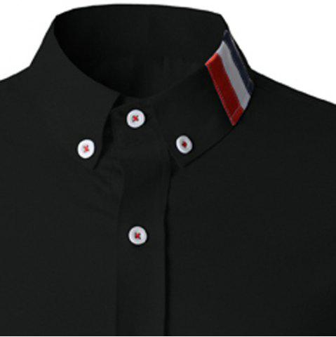 Hot Stylish Shirt Collar Slimming Buttons Design Stripes Splicing Long Sleeve Polyester Shirt For Men - L BLACK Mobile