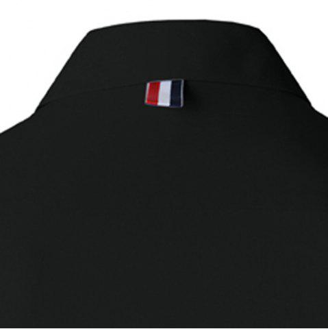 Best Stylish Shirt Collar Slimming Buttons Design Stripes Splicing Long Sleeve Polyester Shirt For Men - L BLACK Mobile