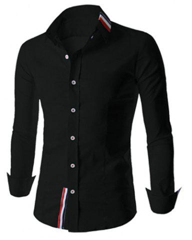 Store Stylish Shirt Collar Slimming Buttons Design Stripes Splicing Long Sleeve Polyester Shirt For Men - L BLACK Mobile