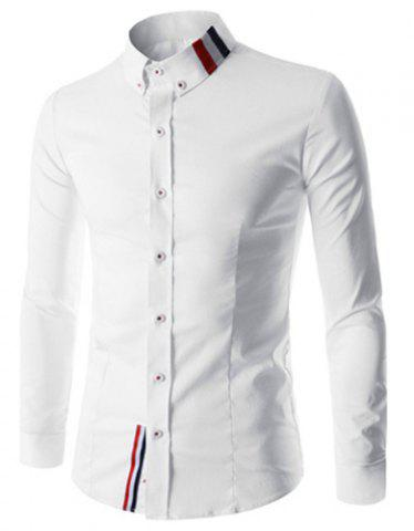 Buy Stylish Shirt Collar Slimming Buttons Design Stripes Splicing Long Sleeve Polyester Shirt For Men - XL WHITE Mobile