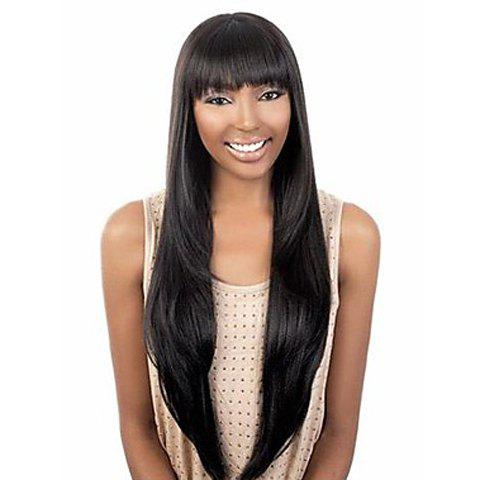 Latest Exquisite Full Bang Extra Long Straight Black Synthetic Wig For Women