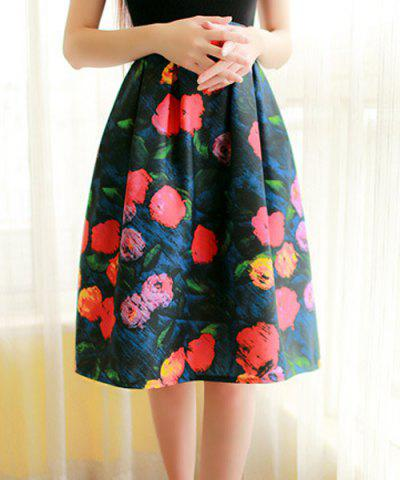Shops Elegant High-Waisted Printed A-Line Women's Midi Skirt COLORMIX M