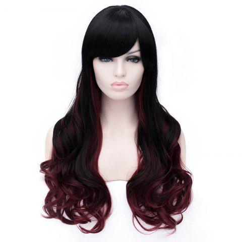 Latest Sophisticated Side Bang Long Sexy Fluffy Wavy Black and Red Ombre Synthetic Wig For Women RED WITH BLACK