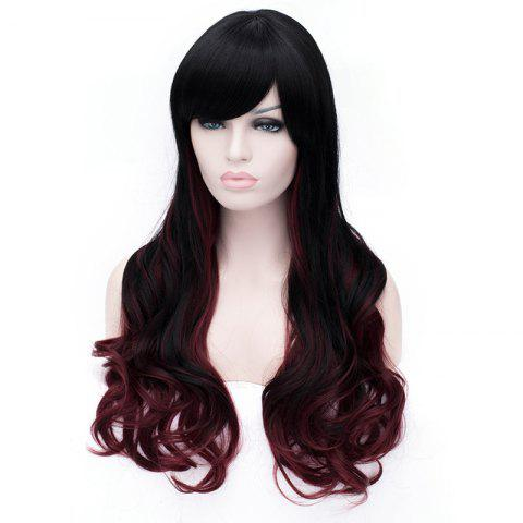 Outfits Sophisticated Side Bang Long Sexy Fluffy Wavy Black and Red Ombre Synthetic Wig For Women - RED WITH BLACK  Mobile