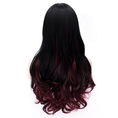 New Sophisticated Side Bang Long Sexy Fluffy Wavy Black and Red Ombre Synthetic Wig For Women - RED WITH BLACK  Mobile