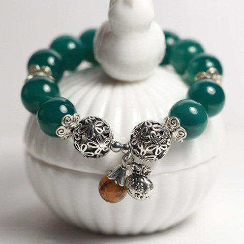 Unique Vintage Flower Pattern Natural Stone Beads Bracelet