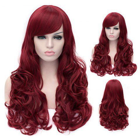 Affordable Outstanding Capless Long Deep Wavy Dark Red Fluffy Women's Synthetic Wig With Side Bang