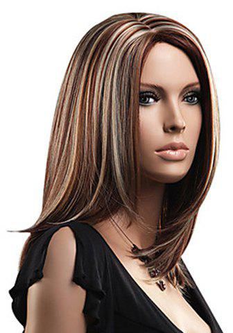 Discount Attractive Layered Mixed Color Medium Straight Fluffy Capless Women's Synthetic Wig - COLORMIX  Mobile