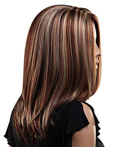 New Attractive Layered Mixed Color Medium Straight Fluffy Capless Women's Synthetic Wig - COLORMIX  Mobile