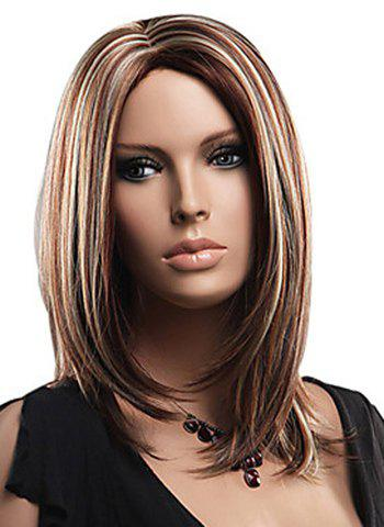 Chic Attractive Layered Mixed Color Medium Straight Fluffy Capless Women's Synthetic Wig