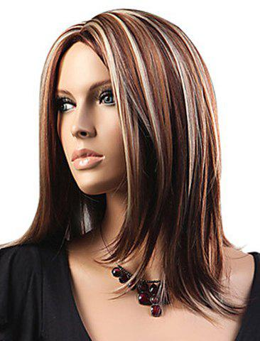 Affordable Attractive Layered Mixed Color Medium Straight Fluffy Capless Women's Synthetic Wig - COLORMIX  Mobile