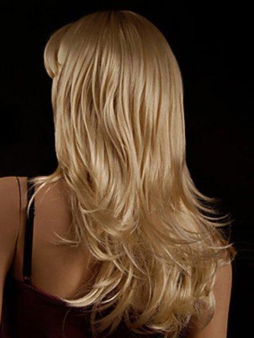 Faddish Side Bang Layered Golden Blonde Long Straight Tilt Women's Synthetic Wig от Rosegal.com INT