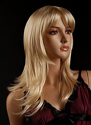 Outfits Faddish Side Bang Layered Golden Blonde Long Straight Tilt Women's Synthetic Wig GOLDEN