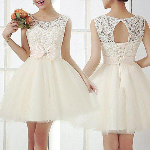 Affordable Vintage Scoop Collar Sleeveless Hollow Out Bowknot Embellished Women's Dress